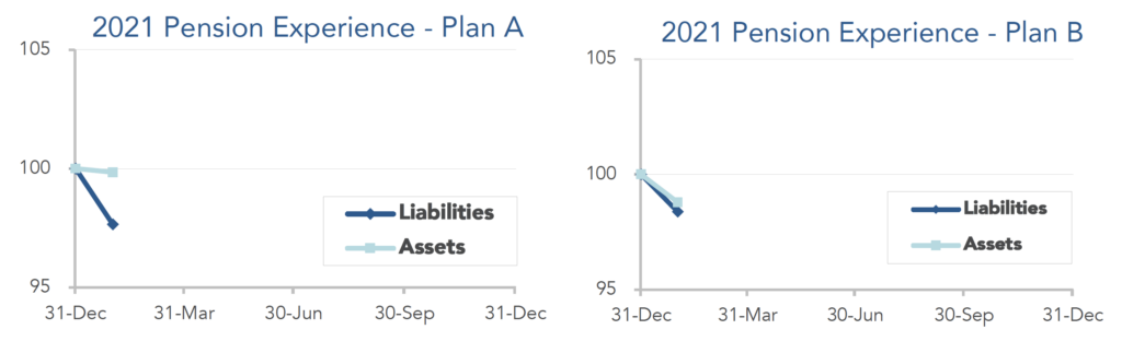 Graphs illustrating the movement of assets and liabilities during January 2021.